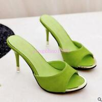 Womens Slip On Slippers Shoes Stilettos High Heel Open Toe Pointy toe Candy New