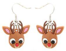 Zest Rubber Christmas Rudolph Earrings for Pierced Ears Brown