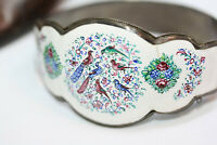 Vintage 1900s Persian hand painted Bird Floral Enamel Export Women's Bracelet 7""