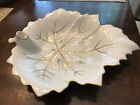 "Limoges France Exclusive""CHAMART"" Leaf Shaped Trinket Dish Gold Trim"