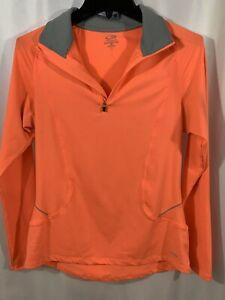 Champion Semi Fitted Women's 1/4 Zip Pullover Shirt Orange Size Medium