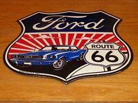 """VINTAGE 1967 FORD MUSTANG ROUTE 66 11 3/4"""" PORCELAIN METAL CAR GASOLINE OIL SIGN"""