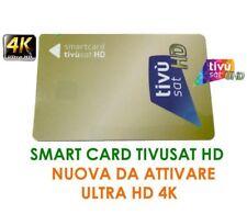 TESSERA SCHEDA SMART CARD TIVUSAT HD 4K D'ATTIVARE NUOVA GARANZIA 24 MESI
