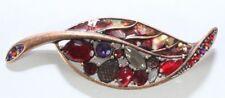 Brooch Pin - LC Liz Claiborne - Leaf - Abalone Enamel - Rhinestones  Copper Tone