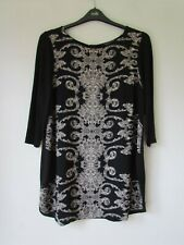 MARKS & SPENCER Black Print Tunic Top Size 20
