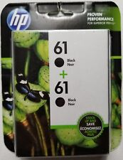 Genuine HP 61 Set of 2 Black Ink Cartridges Cz073fn Exp 2018