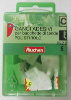 Auchan ganci adesivi bianchi con perno metallico in polistirolo x tende 6 pz new