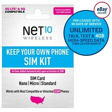 Net10 3-Month 5G/4G LTE Prepaid Plans + SIM Card Kit
