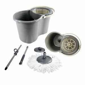 360° Spin Floor Mop & Bucket Set With Mop Head Refills Floor Cleaner Cleaning