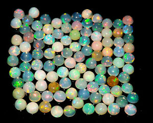 5 mm Round Natural Ethiopian Fire Opal Natural Gemstone Lot  10/25/50/100 Pcs