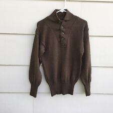 Military Sweater Men's 100% Wool Green Five Button Medium Olive Drab