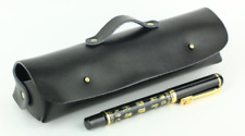 women Cosmetic storage bag Makeup box case pencil pen cow Leather black z705