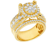 Mens 4 Prong Cluster Round Real Diamond Pinky Ring 14K Yellow Gold 3.5CT