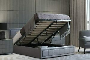 Upholstered Bed Double   Ottoman Bed Frame   Grey Fabric Bed Frame With Storage