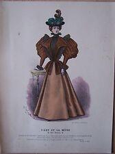 gravure ancienne mode couleur L'ART ET LA MODE XVI N° 43 - Marie DE SOLAR