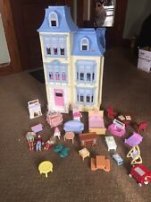 2002 Fisher Price Loving Family Grand Mansion Doll House People Furniture Crib