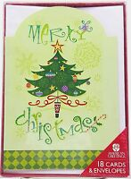 Merry Christmas Festive Tree Holiday Cards 18 count New