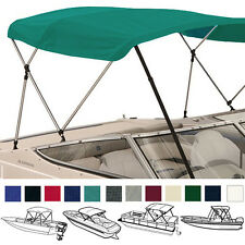 "BIMINI TOP BOAT COVER TEAL 3 BOW 72""L 54""H 73""-78""W - W/ BOOT & REAR POLES"