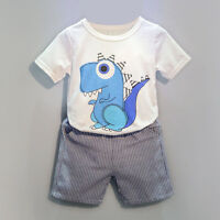 Toddler Kid Baby Boys Dinosaur Printing T-shirt+Short Pants Clothes Set Outfits
