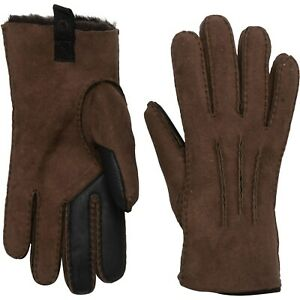 NWT New UGG AUSTRALIA 3 Point Suede Leather Gloves Shearling Chocolate Brown XL