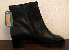 Janet D. Schuhe Stiefel Stiefeletten +Reißverschluss Echt-Leder Schwarz Größe 41