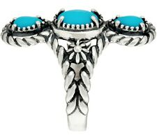 American West Sleeping Beauty Turquoise Three Stone Sterling Ring Size 5 Qvc $50