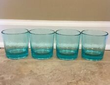 NEW 4 PC Pottery Barn Fresca Acrylic Double Old Fashioned Glass TURQUOISE