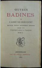 Abbé de GRECOURT - Oeuvres badines (1881 - Front. ROPS - Ex. n° - Rel. signée)