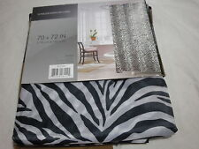 New ZAMBIA Black & White Zebra Print Shower Curtain 70x72 with 12 Roller Hooks