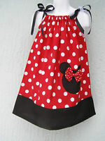 Minnie Head Applique Girl Pillowcase Dress Size 4 6 8 10 12 Handmade Gift