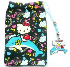Hello Kitty on Dolphin mobile phone MP3 iPod Camera Sock/Pouch +Charm Gift Set