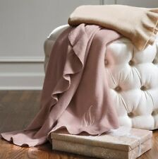 100% Cashmere Throw Blanket in Dusty Rose Pink (Hint of Mauve) w/ Ruffle New