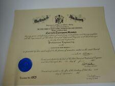 Vintage State of New Jersey Professional Engineer Certificate 1970 28877