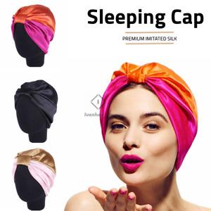 Imitated Silk Sleeping Cap Sleep Hat Womens Night Hair Styling Care Bonnet Wrap