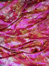 "1M pink multi colouredChinese Brocade Fabric Shiny Silky,  45""wide"