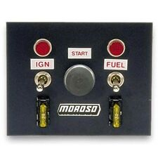 MOROSO 74130 Switch Panel Aluminum Black 4 in. Wide 5 in. Tall 3 Toggle Switches