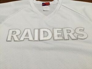 Vintage Raiders NFL Vegas Mesh Sleevelss Warm Up Pullover Jersey White Size XL