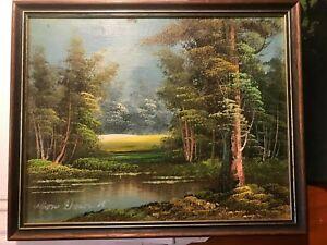 Original oil  Painting Landscape Vintage  framed  signed 30cmx24cm