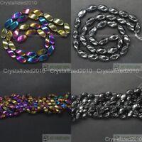 "Natural Hematite Gemstones Twist Drum Spacer Loose Beads 6mm x 12mm 16"" Metallic"