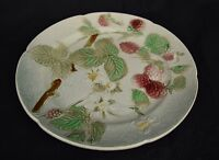 "St Clement Majolica Raspberry Fruit Salad Plate 8.25""Antique Flower France"