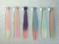 25cm Long Colorful Ombre Straight Doll Synthetic DIY Hair Extensions For Dolls
