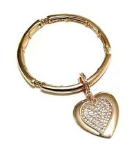 Gold Finish Dangle Twin Love Heart Charm Stretch Elastic Bracelet Bangle Women