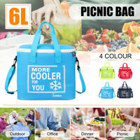 6L Large Oxford Insulated Lunch Bag Thermal Cooler Picnic Food Storage Box Pack