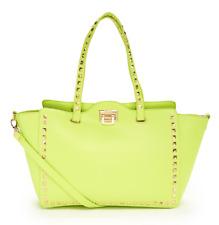 BCBG Paris Women's Apple Green Faux Leather Studded Tote Handbag 1067