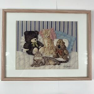 "Vintage 1987 Peg McInnis ""Second Cousins"" Cat Art Painting signed & numbered"