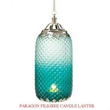 BLUE PARAGON DIAMOND-PATTERNED HANGING CANDLE HOLDER LANTERN GLASS METAL NEW