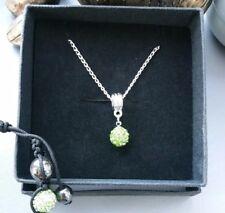 Beautiful Green Crystal Shamballa Bracelet & Necklace Set 10mm with Gift Box