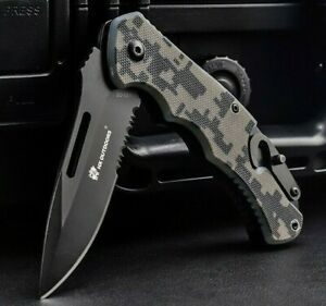 """Drop Point Serrated Folding Knife Pocket Hunting Survival Tactical G10 Handle 3"""""""