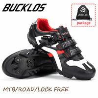 BUCKLOS MTB Road Bike Mens Shoes Gym Sneakers Lock Racing for Shimano SPD Look