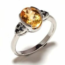 925 Sterling Silver Natural Citrine Gem Stone Men's Ring Jewelery Us 7 8